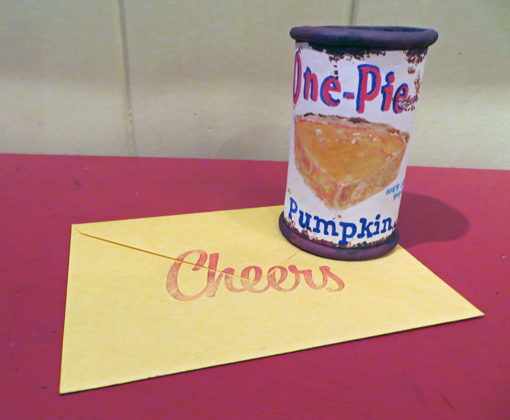 Yellow envelope with Cheers Stamp and One Pie Pumpkin Can Cup