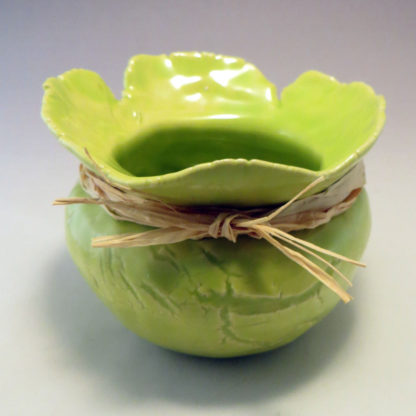 Chartreuse Pinch Pot with Raffia front view