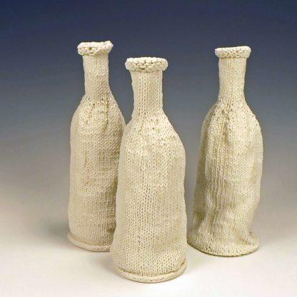 KNitted porcelain wine bottles