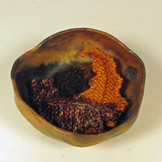 Clay Bowl and knit leaves