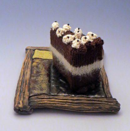 chocolate cake and platter