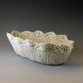 oval knitted porcelain basket